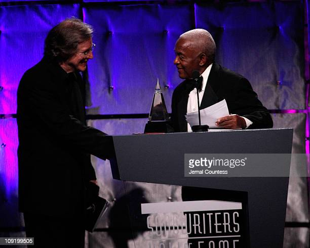 Inductee John Sebastian and Irving Burgie onstage during the 39th Annual Songwriters Hall of Fame Ceremony at the Marriott Marquis on June 19 2008 in...