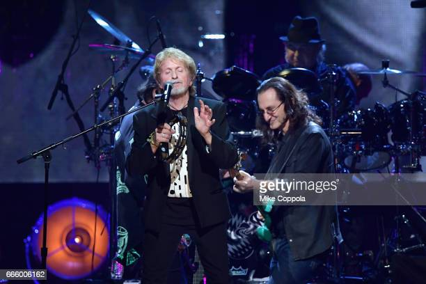 Inductee Jon Anderson of Yes and 2013 Geddy Lee of Rush perform onstage at the 32nd Annual Rock Roll Hall Of Fame Induction Ceremony at Barclays...