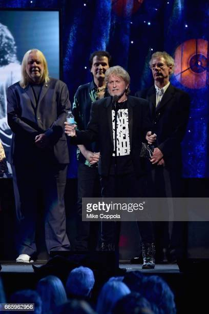 Inductee Jon Anderson of Yes speaks onstage at the 32nd Annual Rock Roll Hall Of Fame Induction Ceremony at Barclays Center on April 7 2017 in New...
