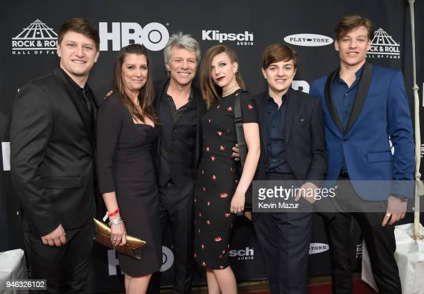Inductee Jon Bon Jovi and family attend the 33rd Annual Rock & Roll Hall of Fame Induction Ceremony at Public Auditorium on April 14, 2018 in...