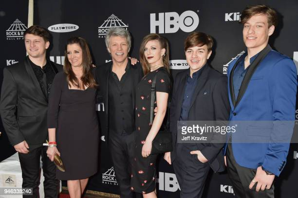 Inductee Jon Bon Jovi and family attend the 33rd Annual Rock Roll Hall of Fame Induction Ceremony at Public Auditorium on April 14 2018 in Cleveland...