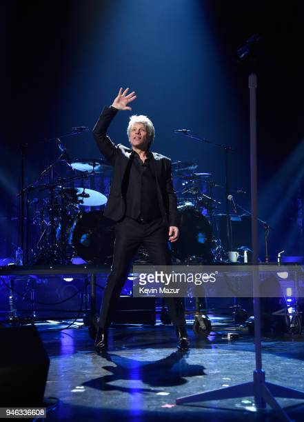 Inductee Jon Bon Jovi performs during the 33rd Annual Rock Roll Hall of Fame Induction Ceremony at Public Auditorium on April 14 2018 in Cleveland...