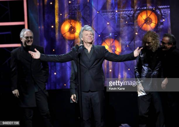 Inductee Jon Bon Jovi speaks onstage during 33rd Annual Rock Roll Hall of Fame Induction Ceremony at Public Auditorium on April 14 2018 in Cleveland...