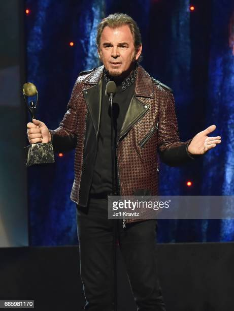 Inductee Jonathan Cain of Journey speaks onstage at the 32nd Annual Rock Roll Hall Of Fame Induction Ceremony at Barclays Center on April 7 2017 in...
