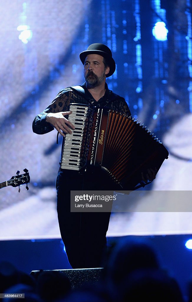 Inductee Krist Novoselic performs onstage at the 29th Annual Rock And Roll Hall Of Fame Induction Ceremony at Barclays Center of Brooklyn on April 10, 2014 in New York City.