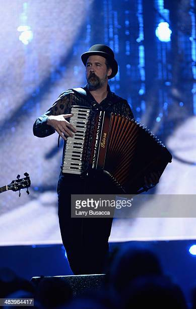 Inductee Krist Novoselic performs onstage at the 29th Annual Rock And Roll Hall Of Fame Induction Ceremony at Barclays Center of Brooklyn on April...