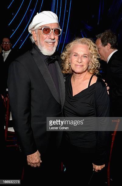 Inductee Lou Adler and musician Carole King attend the 28th Annual Rock and Roll Hall of Fame Induction Ceremony at Nokia Theatre LA Live on April 18...