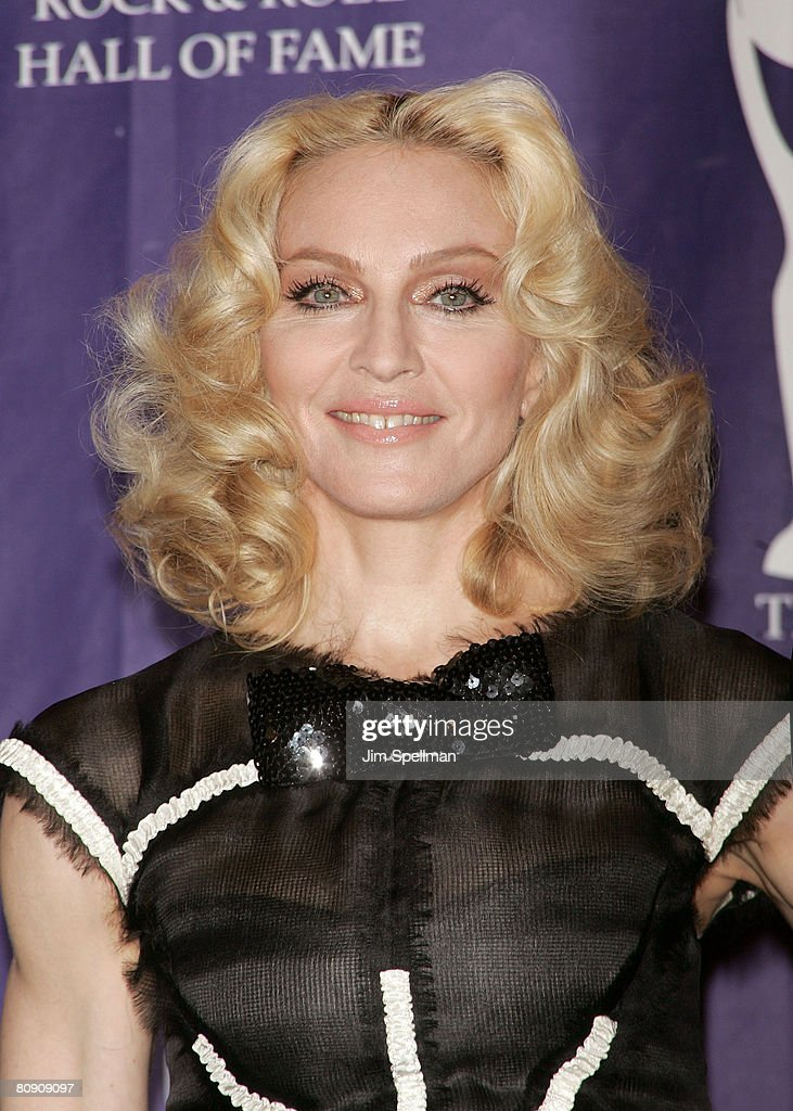 Inductee Madonna poses in the press room during the 23rd Annual Rock and Roll Hall of Fame Induction Ceremony at the Waldorf Astoria on March 10, 2008 in New York City.