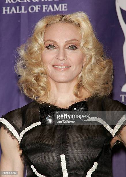 Inductee Madonna poses in the press room during the 23rd Annual Rock and Roll Hall of Fame Induction Ceremony at the Waldorf Astoria on March 10 2008...