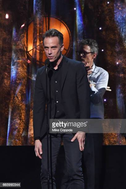 Inductee Matt Cameron of Pearl Jam speaks onstage at the 32nd Annual Rock Roll Hall Of Fame Induction Ceremony at Barclays Center on April 7 2017 in...