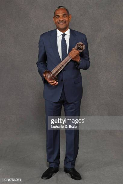 Inductee Maurice Cheeks poses for a portrait prior to the 2018 Basketball Hall of Fame Enshrinement Ceremony on September 7 2018 at the Naismith...