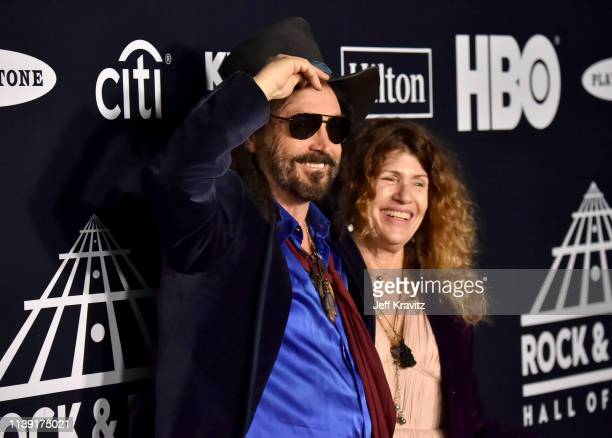 Inductee Mike Campbell of Fleetwood Mac and Marcie Campbell attend the 2019 Rock & Roll Hall Of Fame Induction Ceremony at Barclays Center on March...