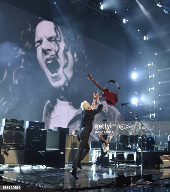 Inductee Mike McCready of Pearl Jam performs onstage during the 32nd Annual Rock Roll Hall Of Fame Induction Ceremony at Barclays Center on April 7...