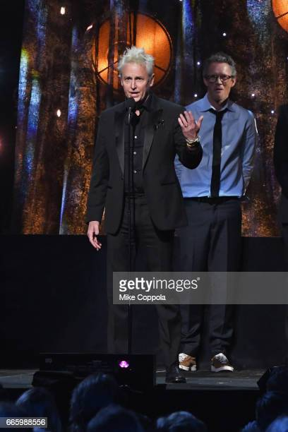 2017 inductee Mike McCready of Pearl Jam speaks onstage at the 32nd Annual Rock Roll Hall Of Fame Induction Ceremony at Barclays Center on April 7...