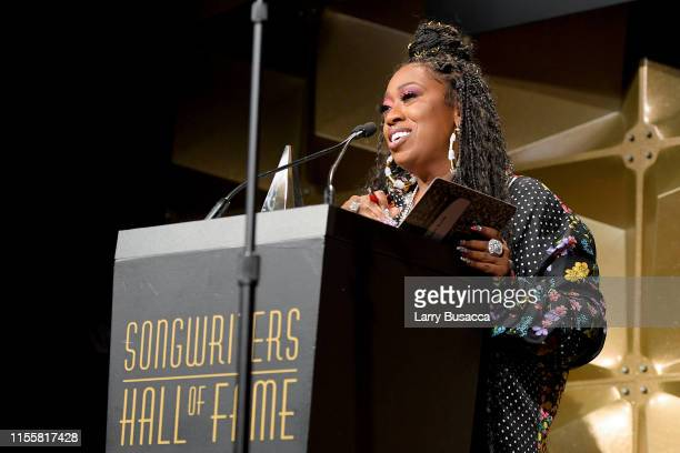 Inductee Missy Elliott speaks onstage during the Songwriters Hall Of Fame 50th Annual Induction And Awards Dinner at The New York Marriott Marquis on...