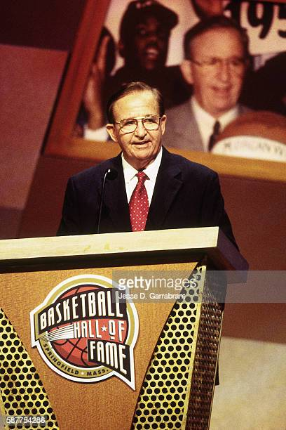 Inductee Morgan Wootten speaks during the 2000 Basketball Hall of Fame Enshrinement Ceremony at the Naismith Basketball Hall of Fame in Springfield...