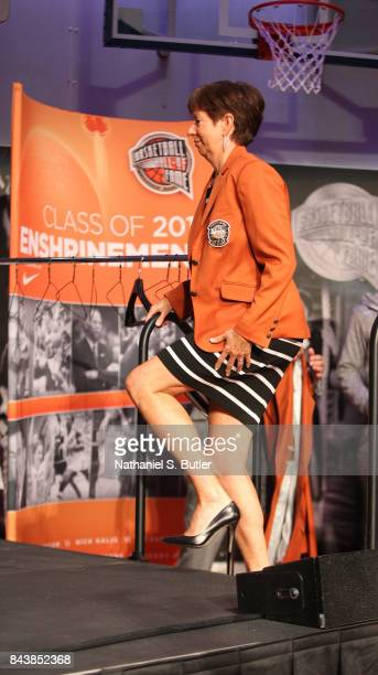 Inductee Muffet McGraw walks during the Class of 2017 Press Event as part of the 2017 Basketball Hall of Fame Enshrinement Ceremony on September 7...
