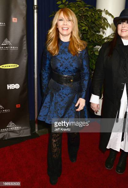 Inductee Nancy Wilson of Heart arrives at the 28th Annual Rock and Roll Hall of Fame Induction Ceremony at Nokia Theatre LA Live on April 18 2013 in...