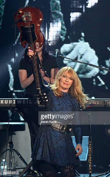 Inductee Nancy Wilson of Heart performs onstage during the 28th Annual Rock and Roll Hall of Fame Induction Ceremony at Nokia Theatre LA Live on...