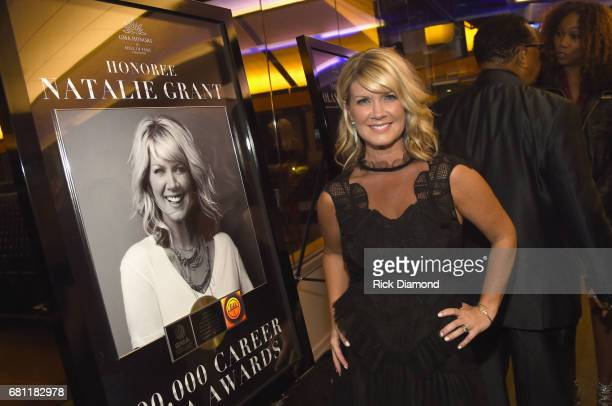 Inductee Natalie Grant takes photos with her award at the GMA Honors on May 9 2017 in Nashville Tennessee