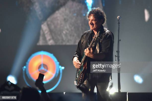 Inductee Neal Schon of Journey performs onstage at the 32nd Annual Rock Roll Hall Of Fame Induction Ceremony at Barclays Center on April 7 2017 in...