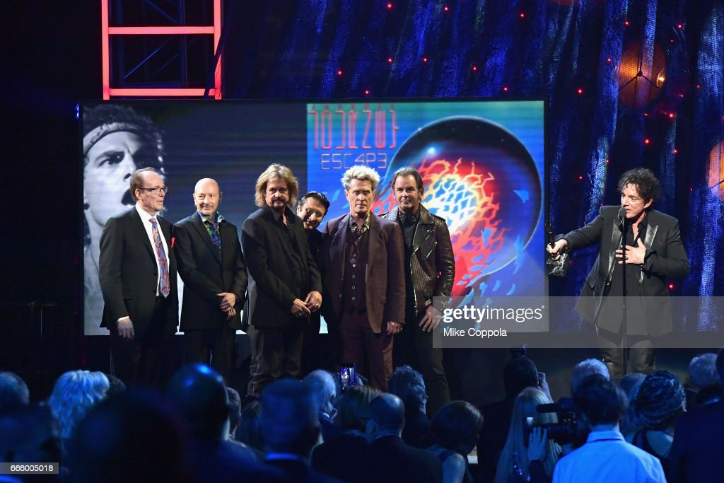 Inductee Neal Schon (R) of Journey speaks onstage at the 32nd Annual Rock & Roll Hall Of Fame Induction Ceremony at Barclays Center on April 7, 2017 in New York City. The event will broadcast on HBO Saturday, April 29, 2017 at 8:00 pm ET/PT