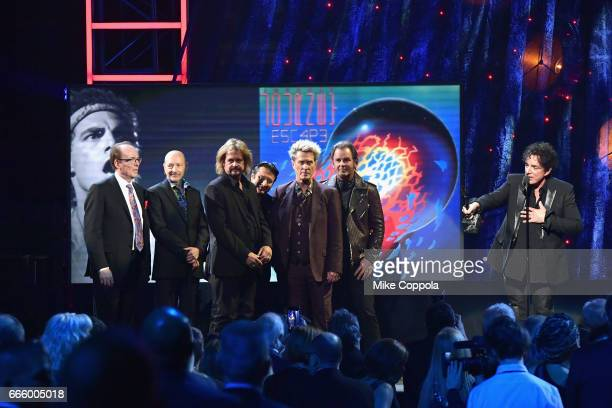 Inductee Neal Schon of Journey speaks onstage at the 32nd Annual Rock Roll Hall Of Fame Induction Ceremony at Barclays Center on April 7 2017 in New...