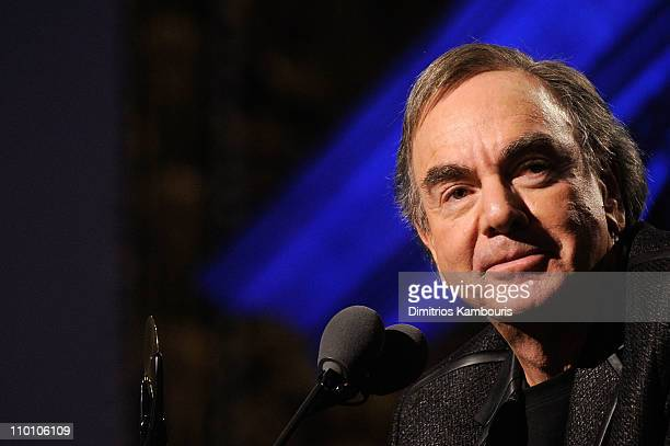 Inductee Neil Diamond speaks onstage at the 26th annual Rock and Roll Hall of Fame Induction Ceremony at The Waldorf=Astoria on March 14 2011 in New...