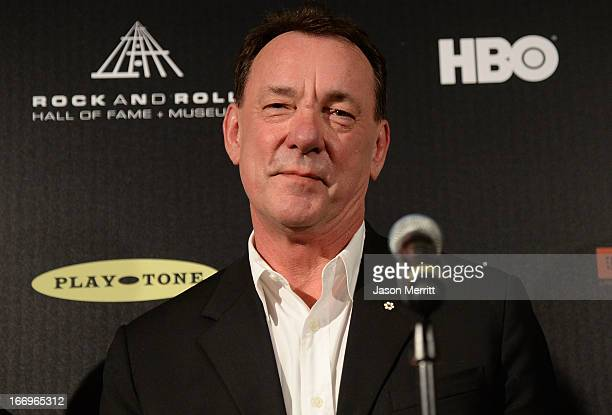 Inductee Neil Peart of Rush poses in the press room at the 28th Annual Rock and Roll Hall of Fame Induction Ceremony at Nokia Theatre LA Live on...