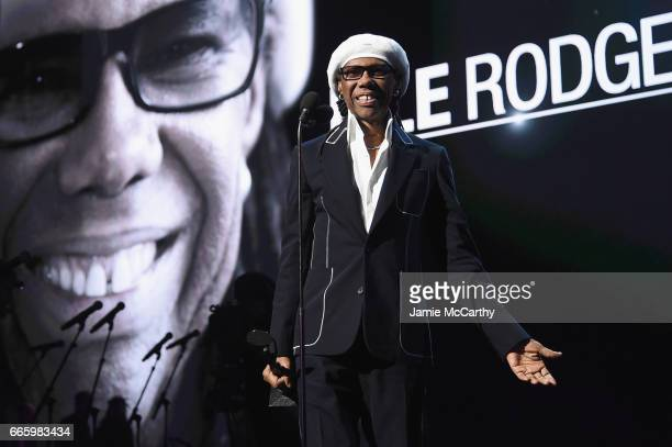 Inductee Nile Rodger speaks onstage at the 32nd Annual Rock Roll Hall Of Fame Induction Ceremony at Barclays Center on April 7 2017 in New York City...