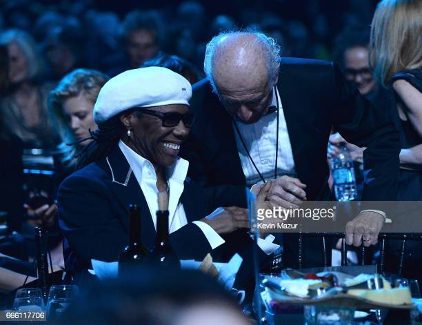 Inductee Nile Rodgers and Ron Delsner attend 32nd Annual Rock Roll Hall Of Fame Induction Ceremony at Barclays Center on April 7 2017 in New York...
