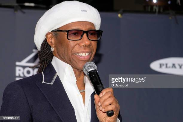 Inductee Nile Rodgers attends the Press Room of the 32nd Annual Rock Roll Hall of Fame Induction Ceremony at Barclays Center on April 7 2017 in New...