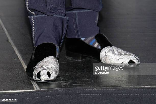 Inductee Nile Rodgers shoe detail attends the Press Room of the 32nd Annual Rock Roll Hall of Fame Induction Ceremony at Barclays Center on April 7...