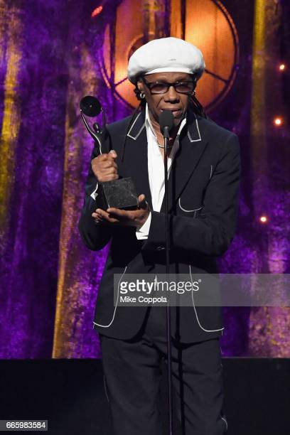 2017 inductee Nile Rodgers speaks onstage at the 32nd Annual Rock Roll Hall Of Fame Induction Ceremony at Barclays Center on April 7 2017 in New York...