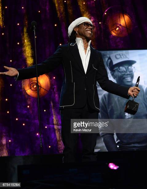 inductee Nile Rodgers speaks onstage during the 32nd Annual Rock Roll Hall Of Fame Induction Ceremony at Barclays Center on April 7 2017 in New York...