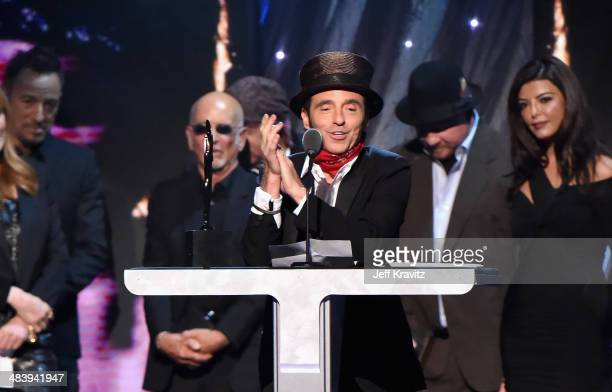 Inductee Nils Lofgren of the E Street Band speaks onstage at the 29th Annual Rock And Roll Hall Of Fame Induction Ceremony at Barclays Center of...