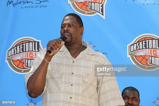 Inductee Patrick Ewing speaks to the media during the Class of 2008 Pep Rally on September 5 2008 at City Hall in Springfield Massachusetts NOTE TO...