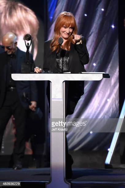 Inductee Patti Scialfa of the E Street Band speaks onstage at the 29th Annual Rock And Roll Hall Of Fame Induction Ceremony at Barclays Center of...