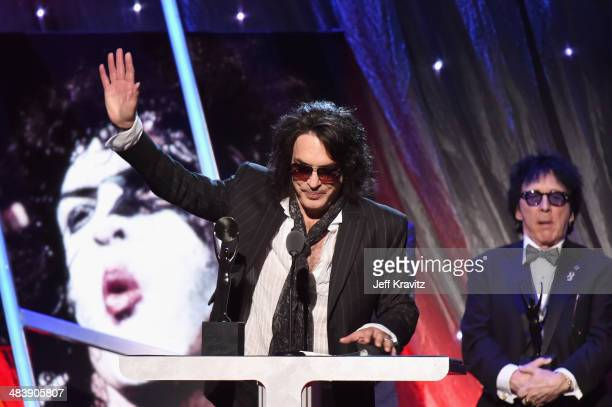 Inductee Paul Stanley of KISS speaks onstage at the 29th Annual Rock And Roll Hall Of Fame Induction Ceremony at Barclays Center of Brooklyn on April...