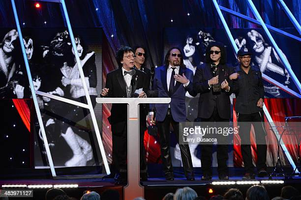 Inductee Peter Criss of KISS speaks onstage onstage at the 29th Annual Rock And Roll Hall Of Fame Induction Ceremony at Barclays Center of Brooklyn...