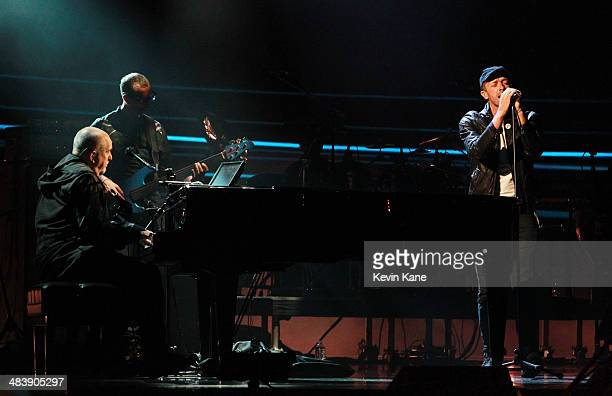 Inductee Peter Gabriel and musician Chris Martin perform onstage at the 29th Annual Rock And Roll Hall Of Fame Induction Ceremony at Barclays Center...