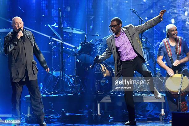 Inductee Peter Gabriel and musician Youssou N'Dour perform onstage at the 29th Annual Rock And Roll Hall Of Fame Induction Ceremony at Barclays...