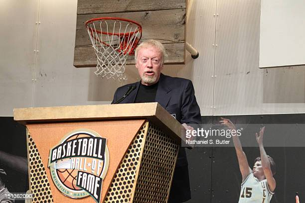 Inductee Phil Knight addresses the media at the Press Event as part of the 2012 Basketball Hall of Fame Enshrinement Ceremony on September 6 2012 at...
