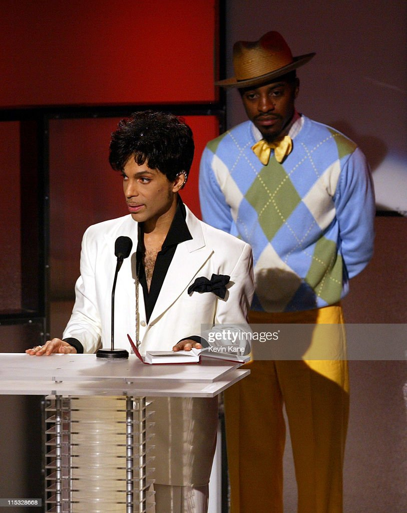 Inductee Prince and Andre 3000 of OutKast during The 19th Annual Rock and Roll Hall of Fame Induction Ceremony - Show at Waldorf Astoria in New York City, New York, United States.