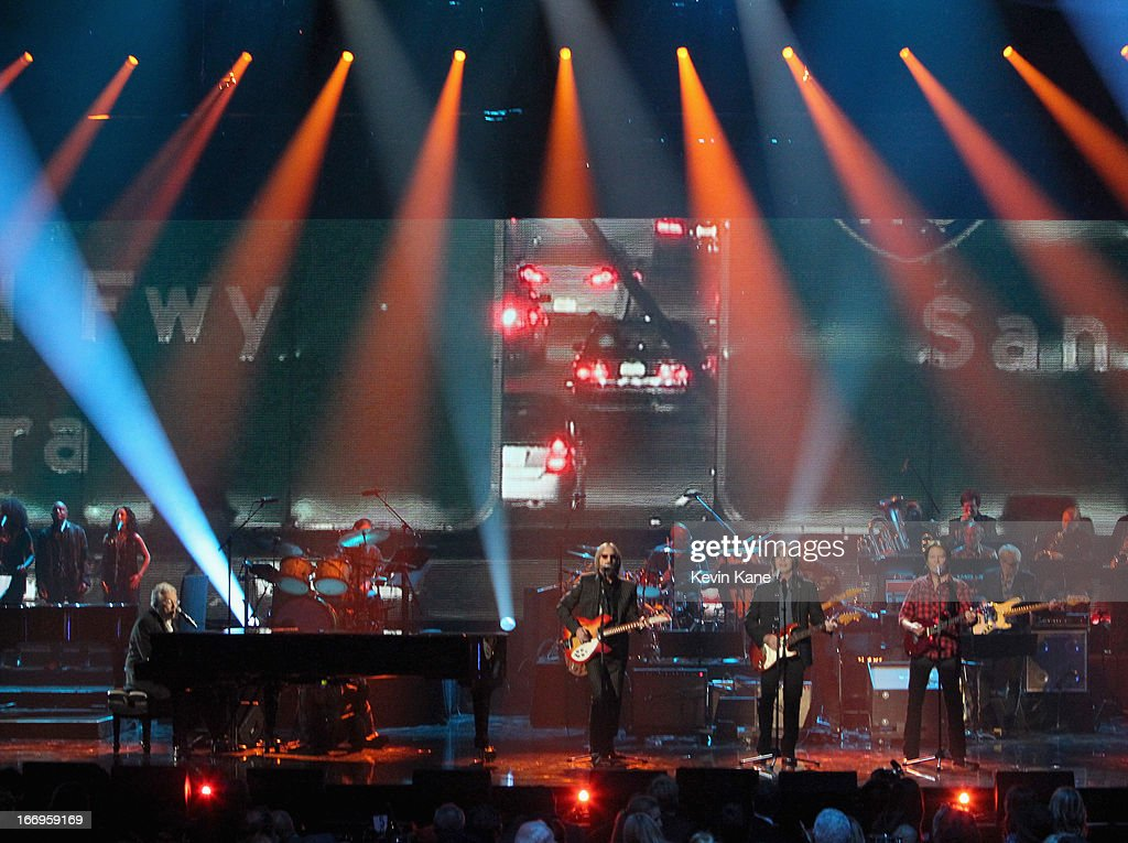Inductee Randy Newman, musicians Tom Petty, Jackson Browne and John Fogerty perform onstage during the 28th Annual Rock and Roll Hall of Fame Induction Ceremony at Nokia Theatre L.A. Live on April 18, 2013 in Los Angeles, California.