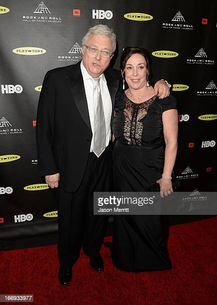 Inductee Randy Newmanm and wife Gretchen Preece arrive at the 28th Annual Rock and Roll Hall of Fame Induction Ceremony at Nokia Theatre LA Live on...