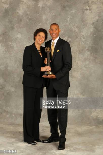 Inductee Reggie Miller and Cheryl Miller poses for a portrait prior to the 2012 Basketball Hall of Fame Enshrinement Ceremony on September 7 2012 at...