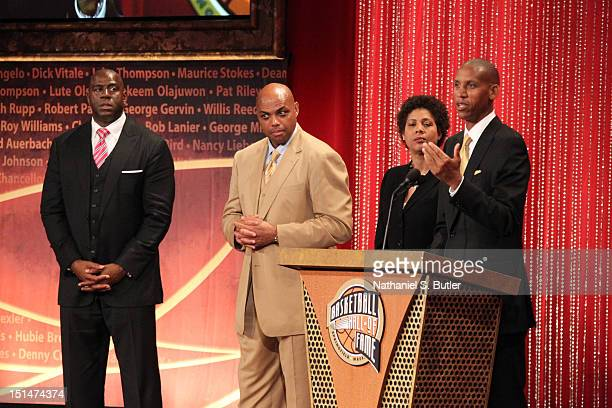 Inductee Reggie Miller speaks to the audience during the 2012 Basketball Hall of Fame Enshrinement Ceremony on September 7 2012 at Symphony Hall in...