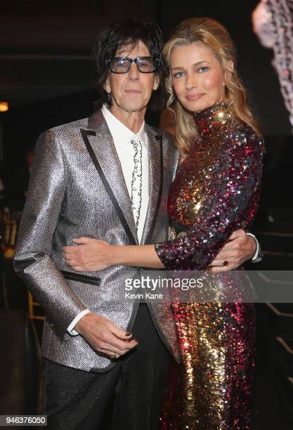 Inductee Ric Ocasek of The Cars and Paulina Porizkova attend 33rd Annual Rock Roll Hall of Fame Induction Ceremony at Public Auditorium on April 14...