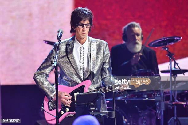 Inductee Ric Ocasek of The Cars performs during the 33rd Annual Rock & Roll Hall of Fame Induction Ceremony at Public Auditorium on April 14, 2018 in...